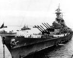 USS Missouri (BB 63) prepares to receive Japanese delegation September 2, 1945 in Sagami Wan