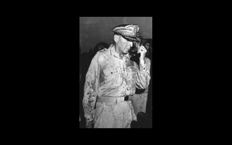"General MacArthur broadcasts his ""I have returned"" message to the Philippine people during a thunderstorm on A-Day The war at sea Admirals, United States Navy"