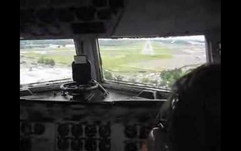 Watching the landing from the right seat