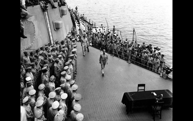General Douglas MacArthur & Fleet Admiral Chester Nimitz arrive.
