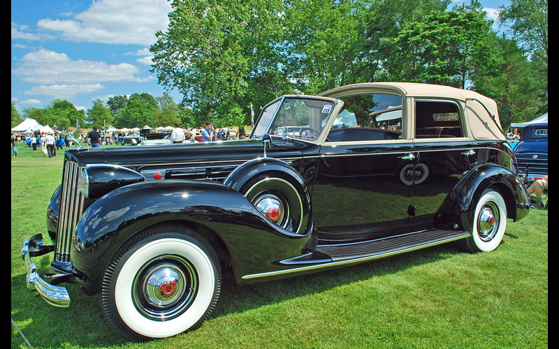 1939 Packard-12 Brunn Body Cabriolet like the one whisking newlyweds Captain and Mrs. Landa from the Church of the Good Shepard to the Beverly Hills Hotel