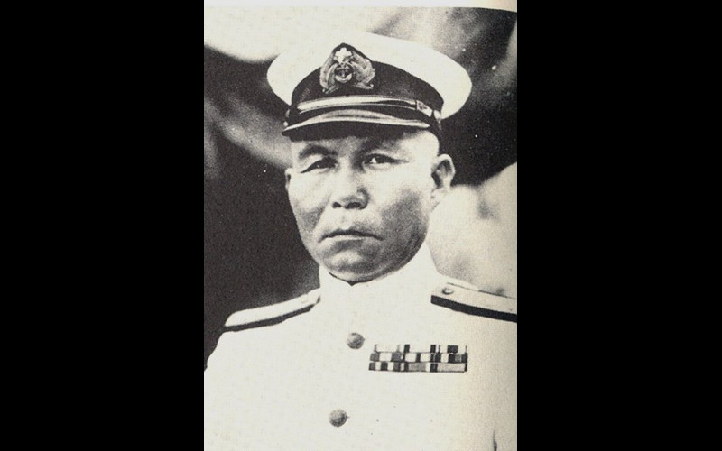 Vice Admiral Jisaburo Ozawa, commander northern (decoy) force, attack carrier IJN Zuikaku. Beppu Bay, Japan