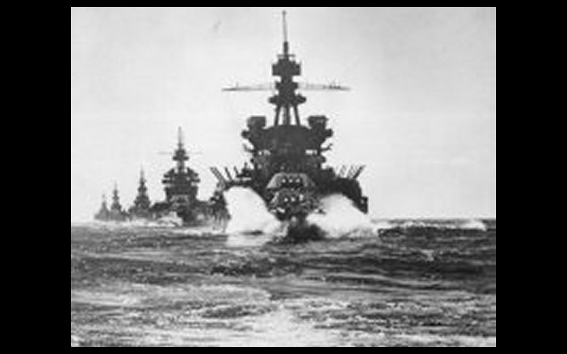 Oldendorf's battleships at Surigao Strait