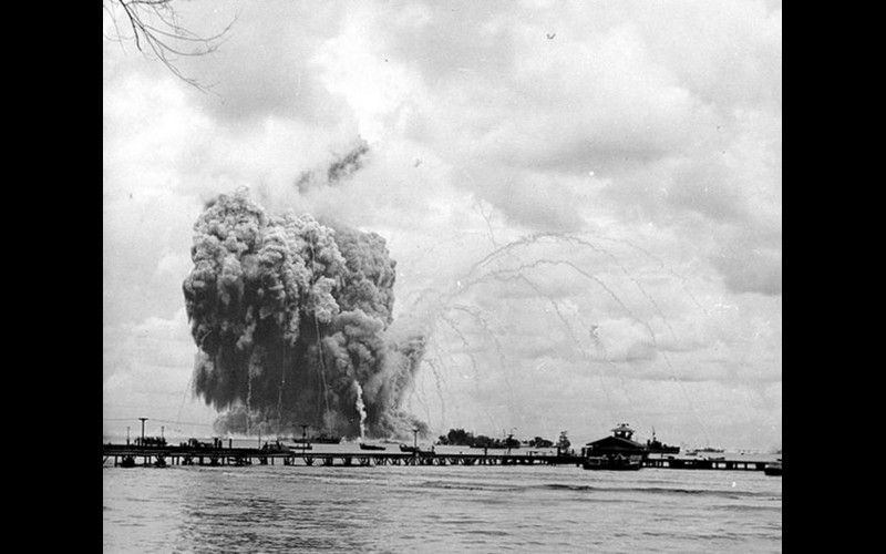 USS Mount Hood (AE 11) exploding, Manus Harbor, Admiralty Islands, November, 1944.