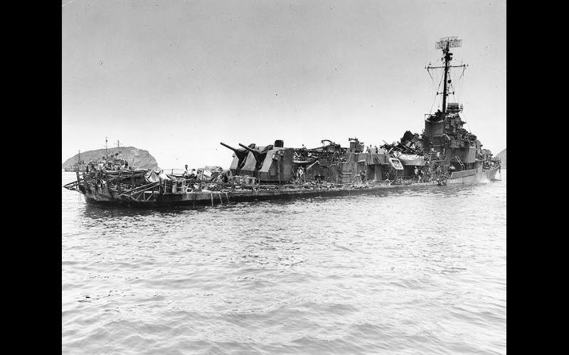 Mangled ships at Kerama Retto USS Aaron Ward
