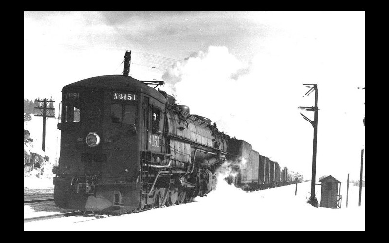 Southern Pacific AC class locomotive grinding its way through Truckee near the peak of the Sierra-Nevada grade