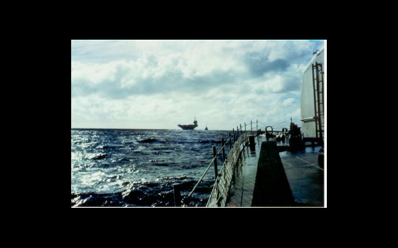 Lifeguard station: Tingey next in line behind USS Ranger, (CV 61) for refueling. (photo: John Samuelson).