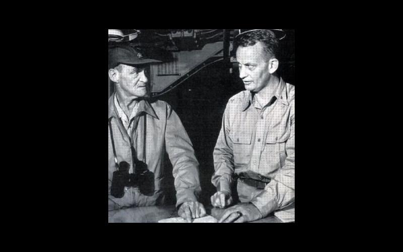 Vice Admiral Marc A. Mitscher, commander task force 38, and his chief of staff, Captain Arleigh A. Burke
