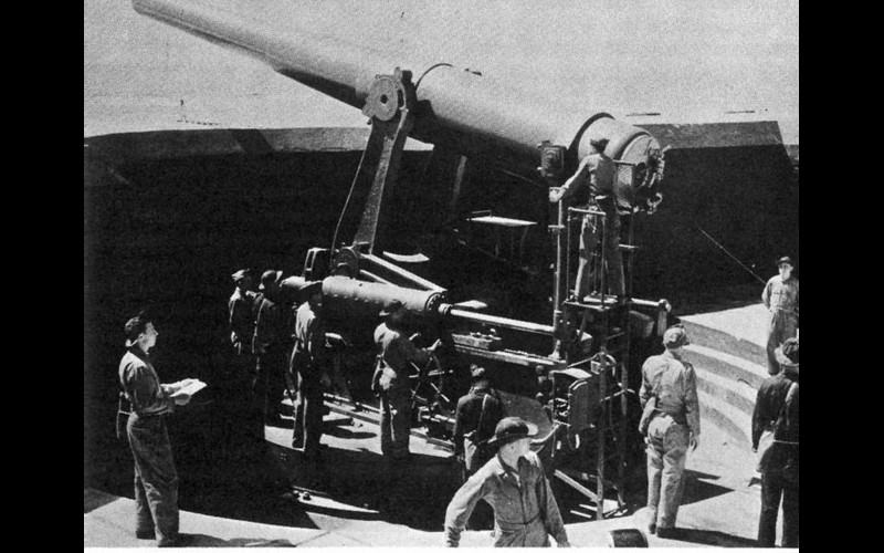 One of the fourteen inch World War I style cannons -- range, 27,000 yards