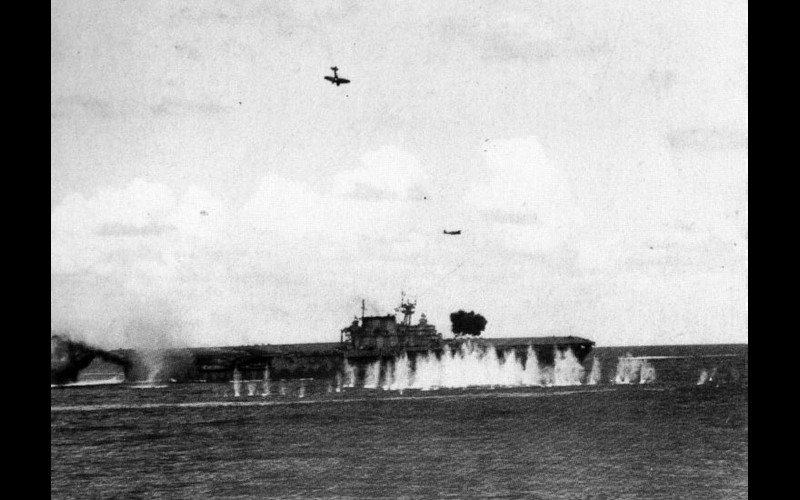 USS Hornet (CV 8) under attack at the Battle of the St. Cruz Islands