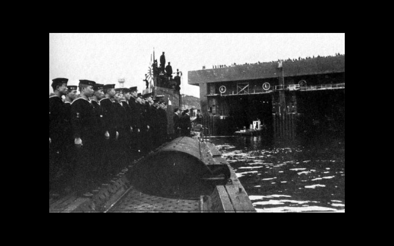 Imperial Japanese Navy submarine I-8 enters U-boat pens at Brest, France.