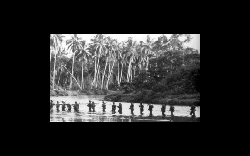 The US Navy sustained enormous losses, including the sinking of the fleet carriers Wasp and Hornet, to ensure Marines like these, could take Guadalcanal