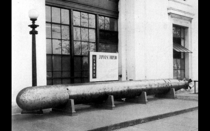 Japanese Type 93 torpedo of World War II. Compare its size to the lamppost.