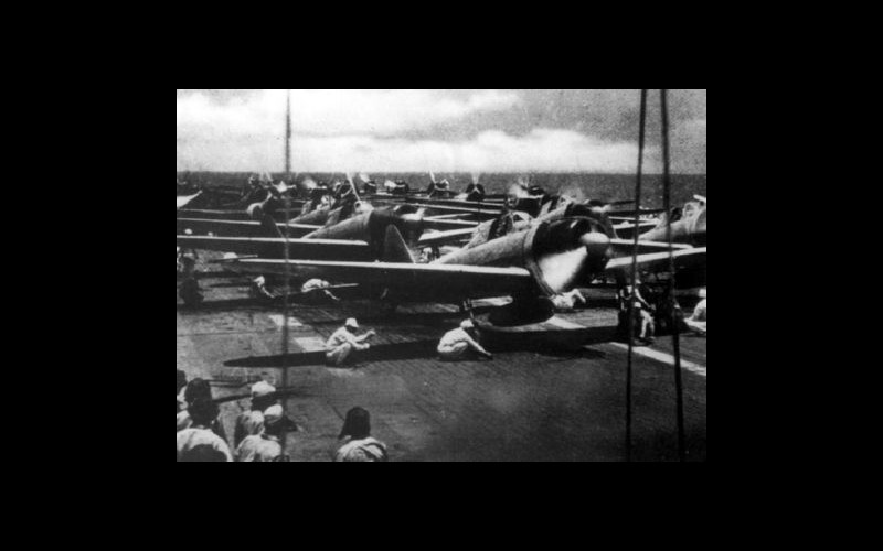 Japanese Naval aircraft preparing to take off at the Battle of the St. Cruz Islands..